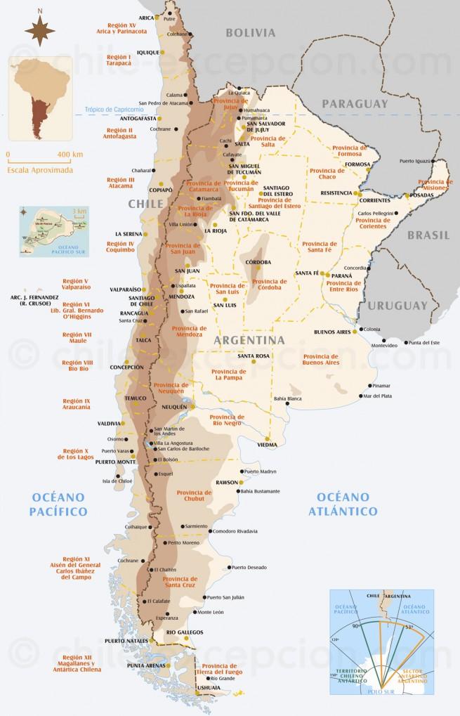 Carte du Chili et de l'Argentine