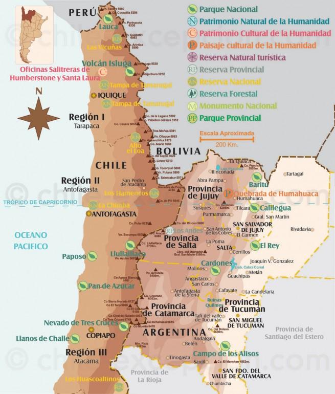 Carte Parcs du Nord du Chili