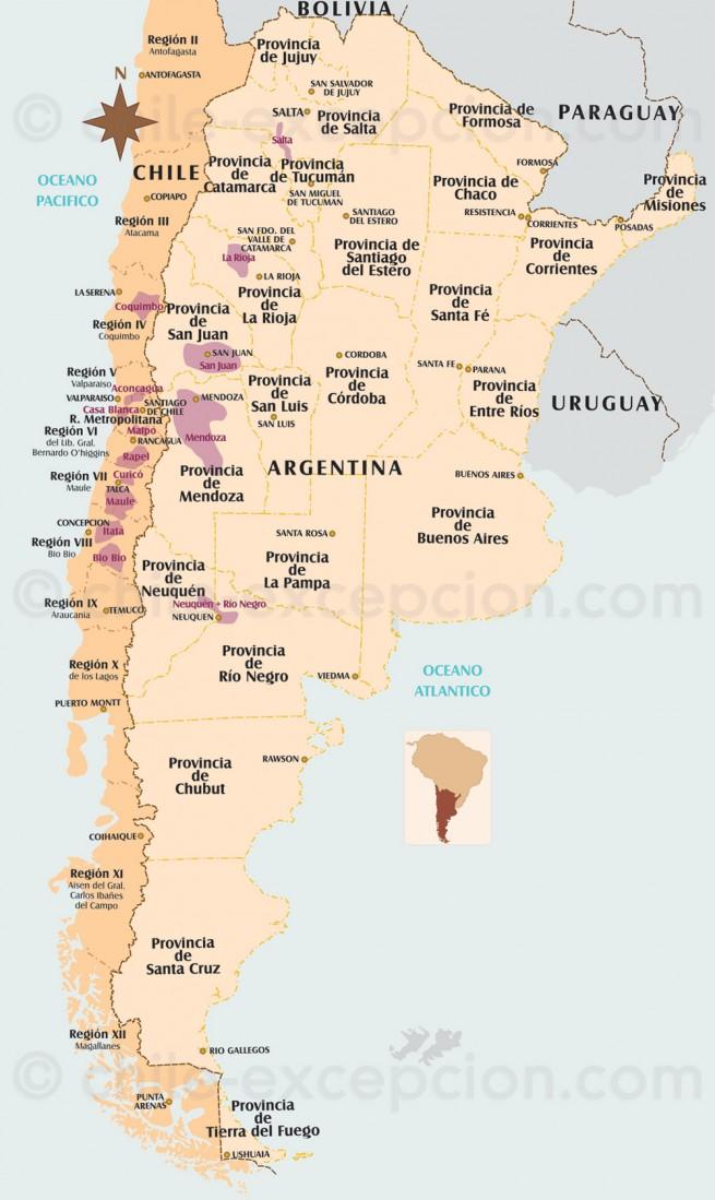 Carte Vins Chili et Argentine