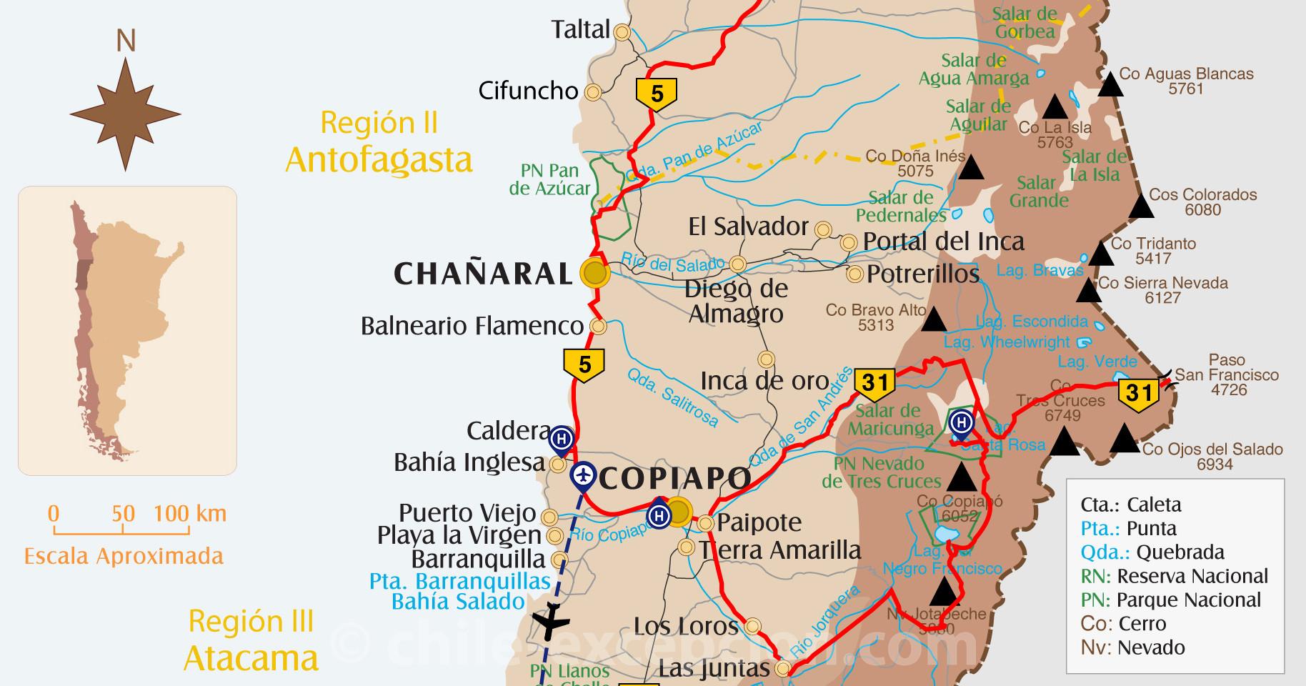 Carte Copiapo Nevado Tres Cruces circuit 10
