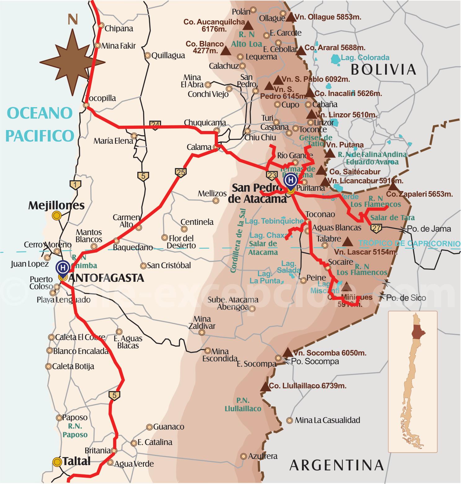 Carte San Pedro Atacama Antofagasta circuit 10