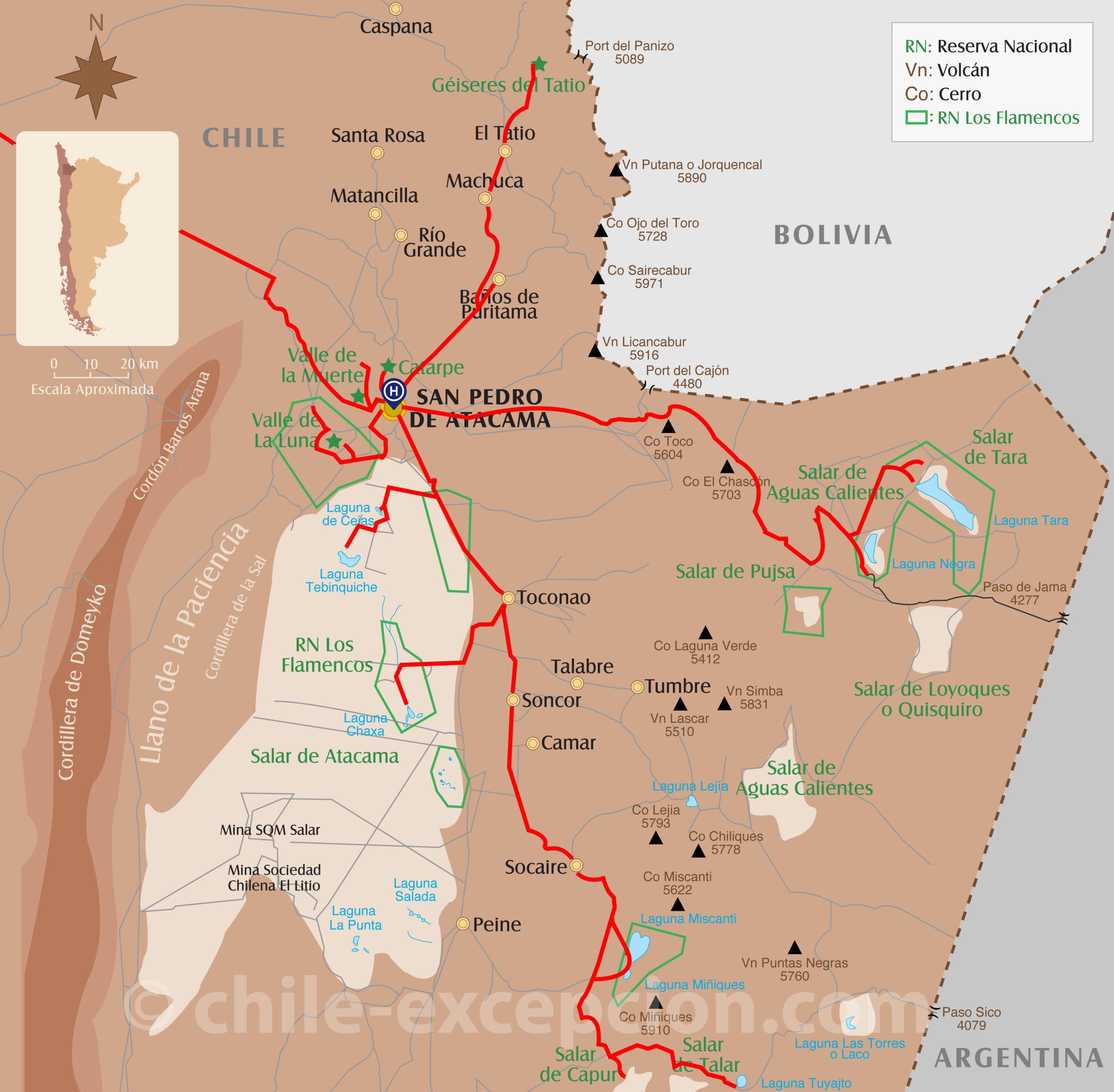 Carte San Pedro de Atacama