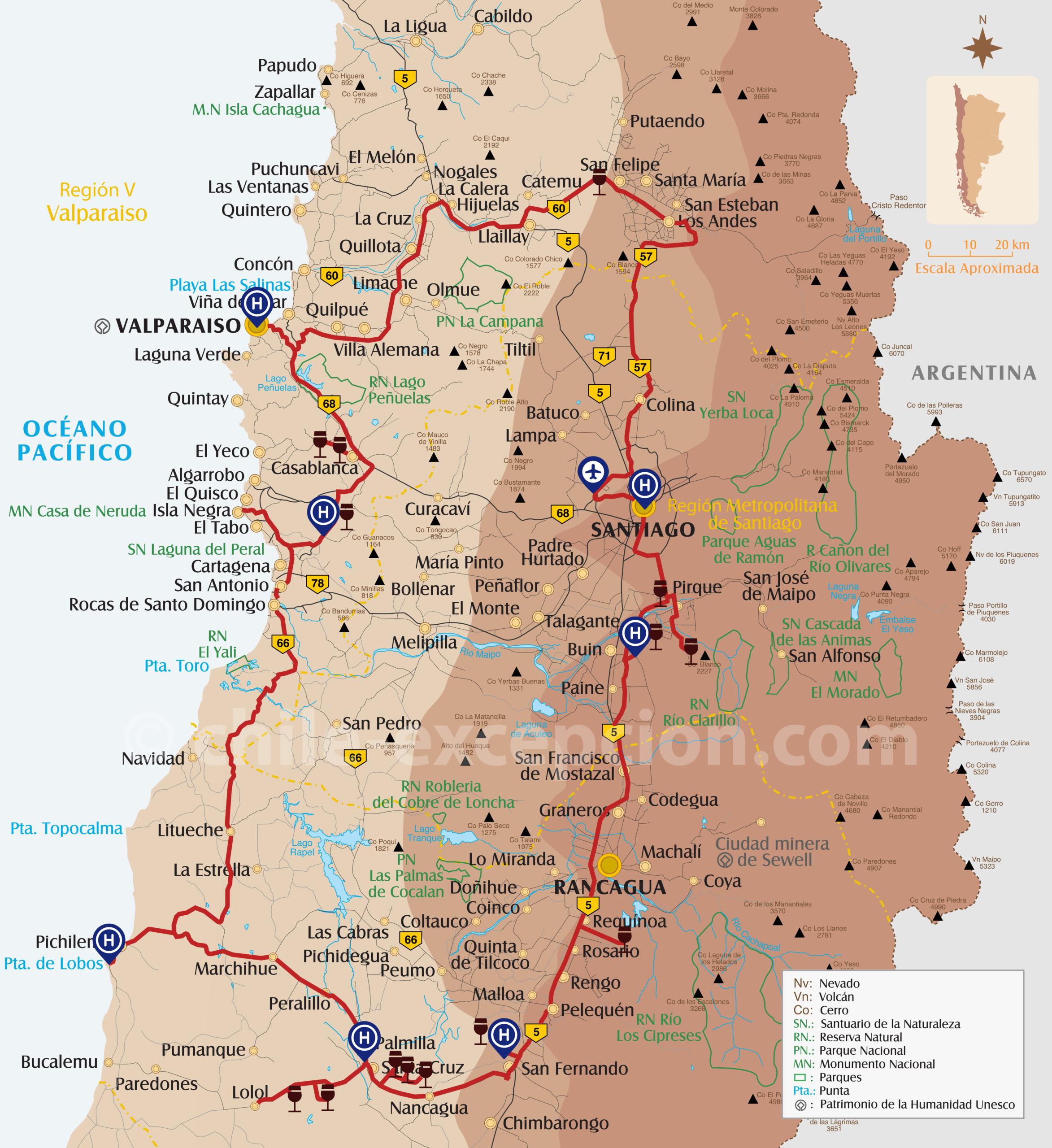 Carte de la route des caves du Chili