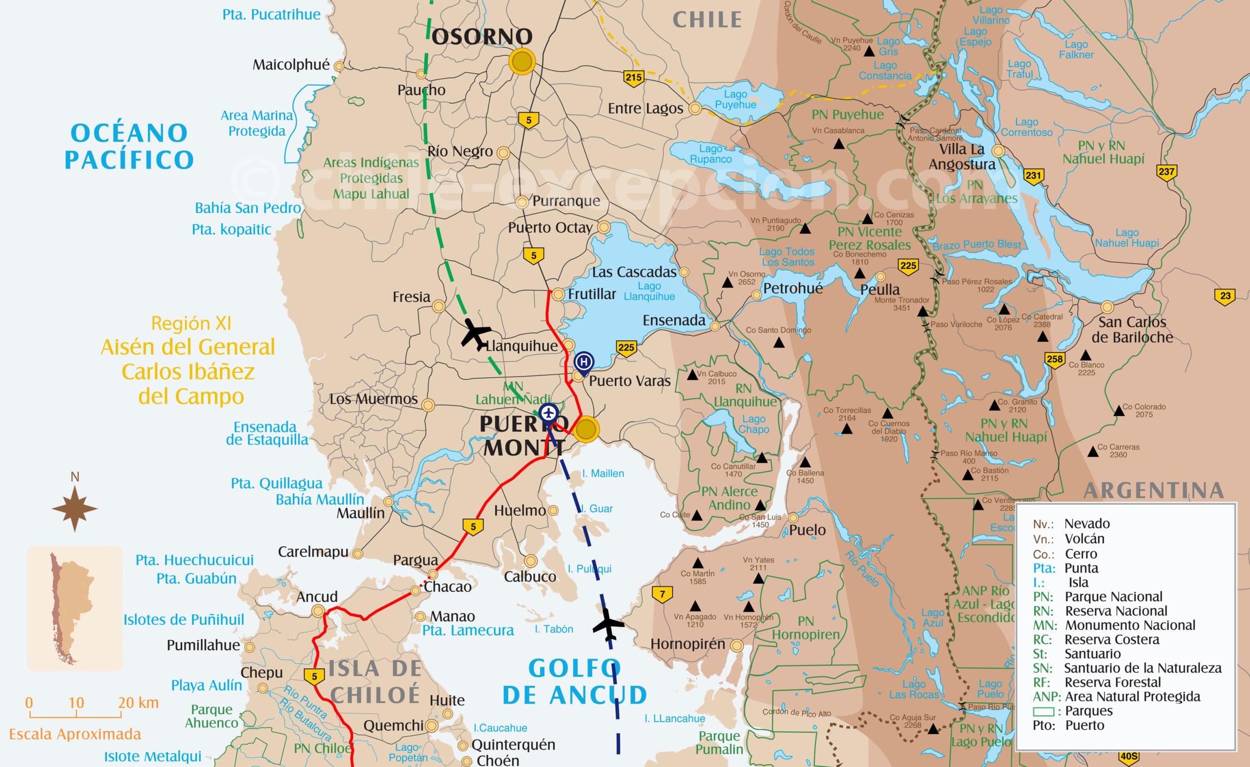 Carte de l'itinéraire zone des Lacs
