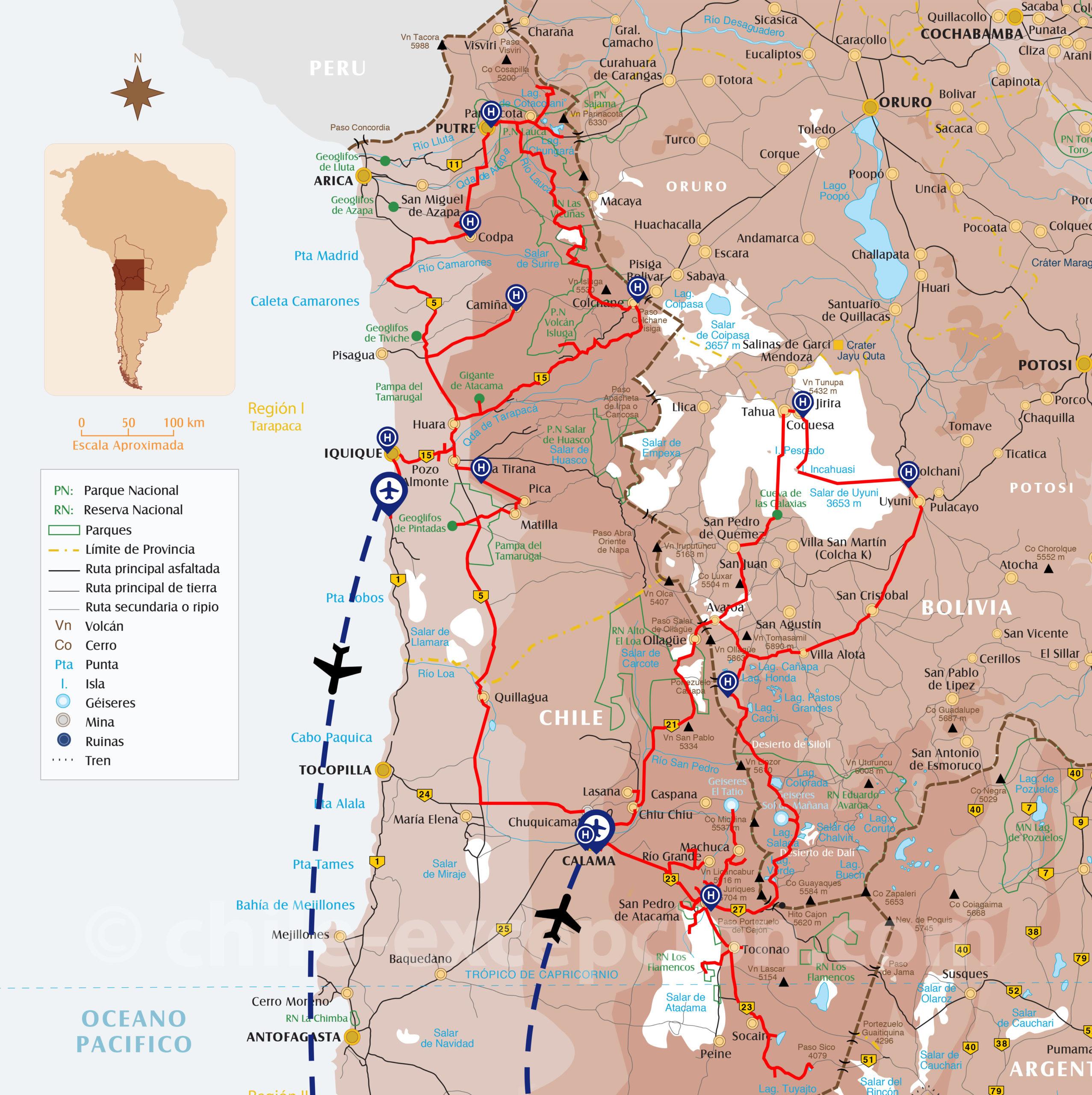 Carte du circuit Atacama Uyuni Lauca Surire