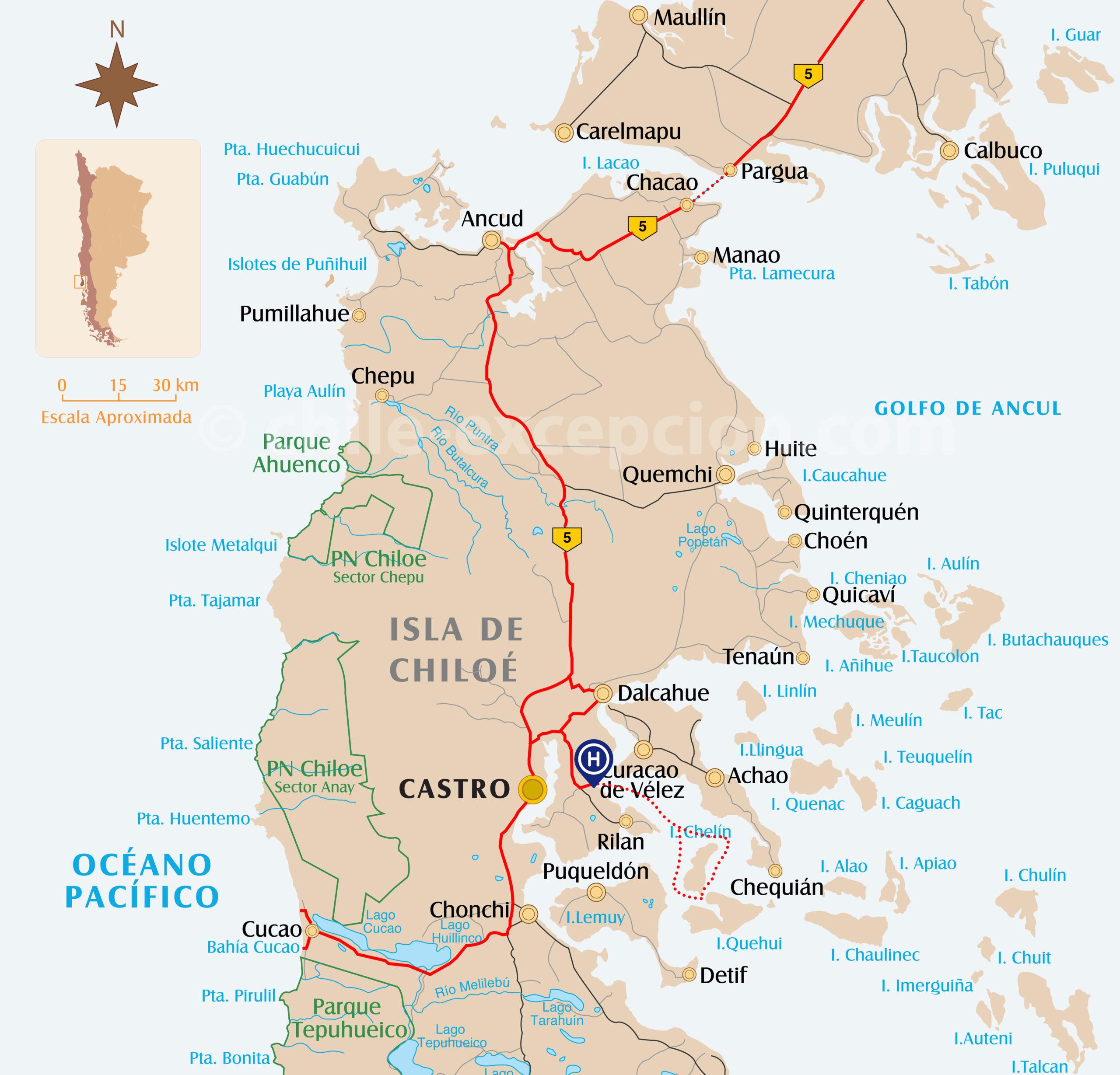 Carte du parcours à Chiloé circuit 8