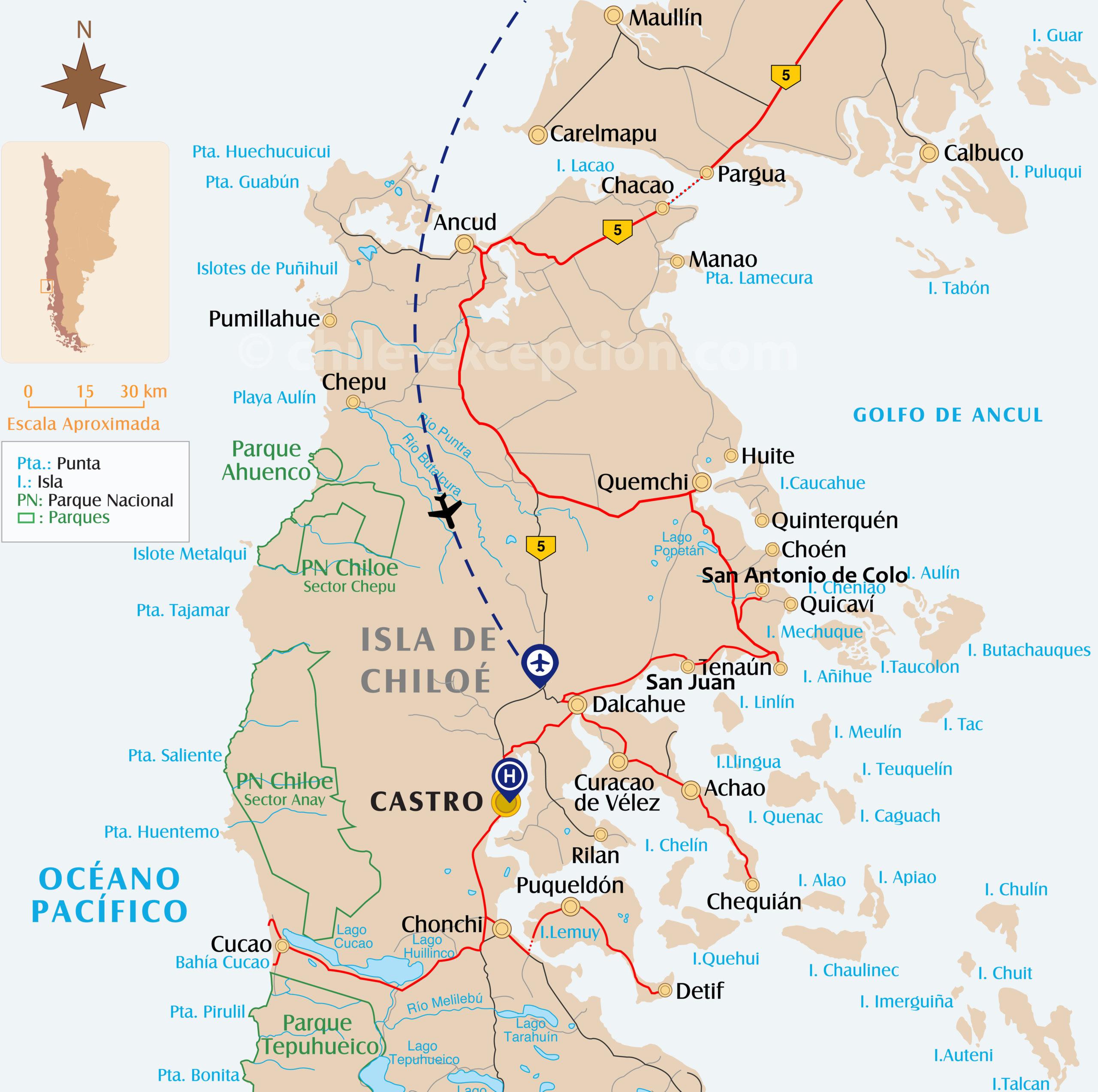 Carte du parcours à Chiloé