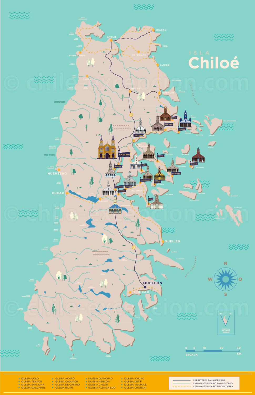 Carte églises classées de Chiloé