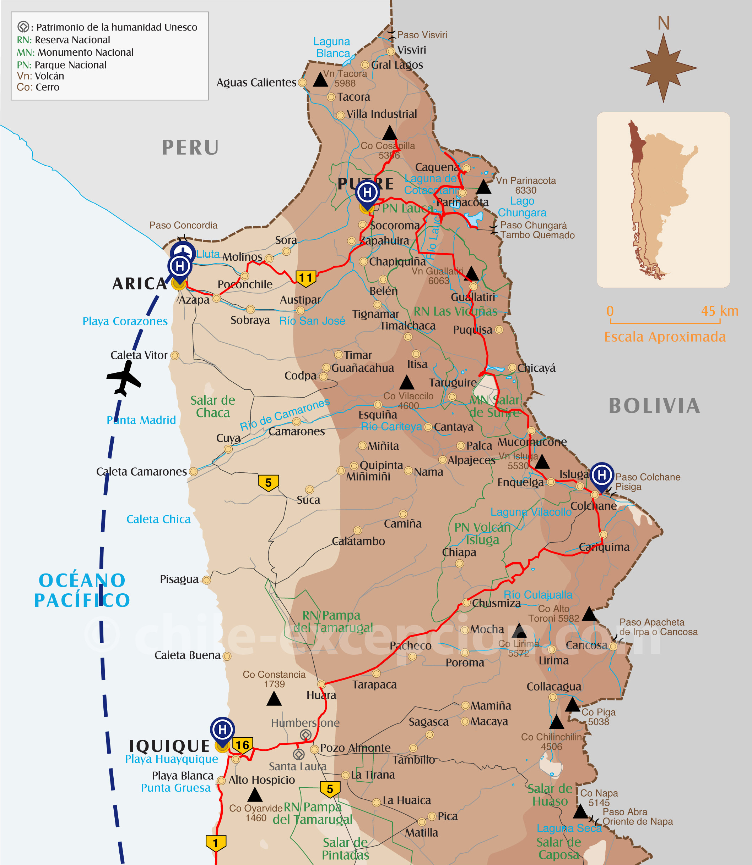 Carte extrême Nord Chili circuit 10
