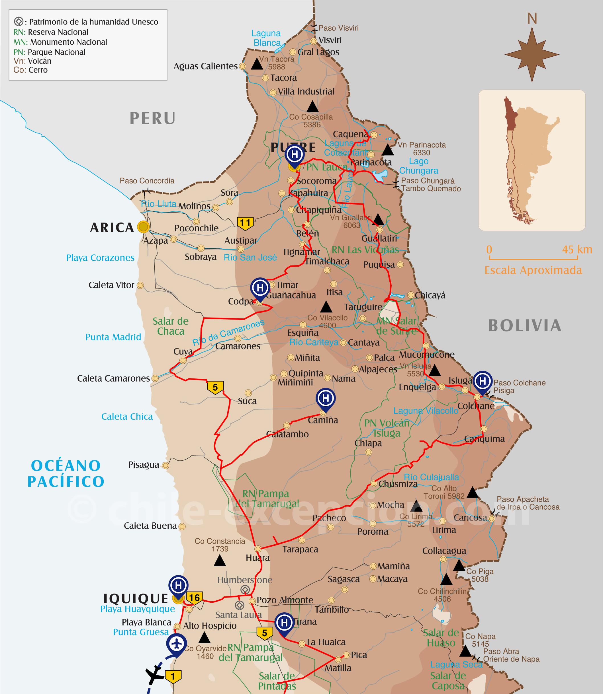 Carte parcours Codpa Putre Iquique circuit Chili Bolivie 18