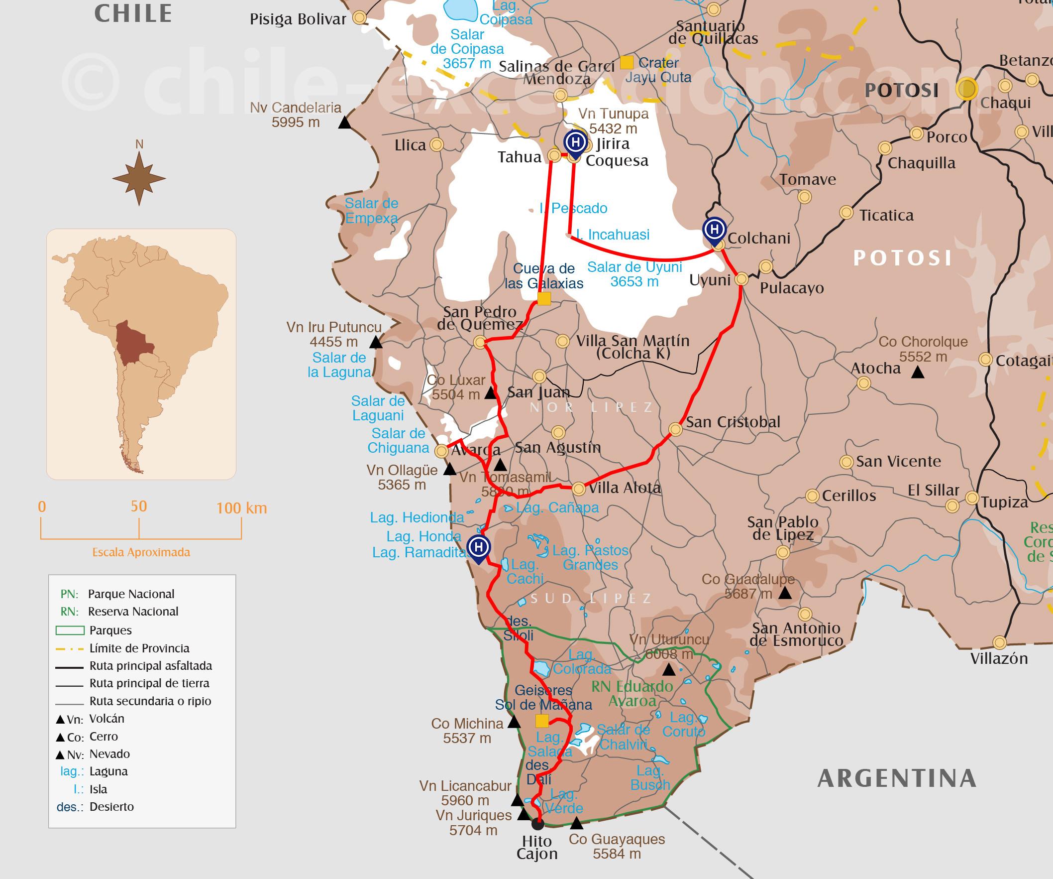 Carte parcours Uyuni circuit Chili Bolivie 18