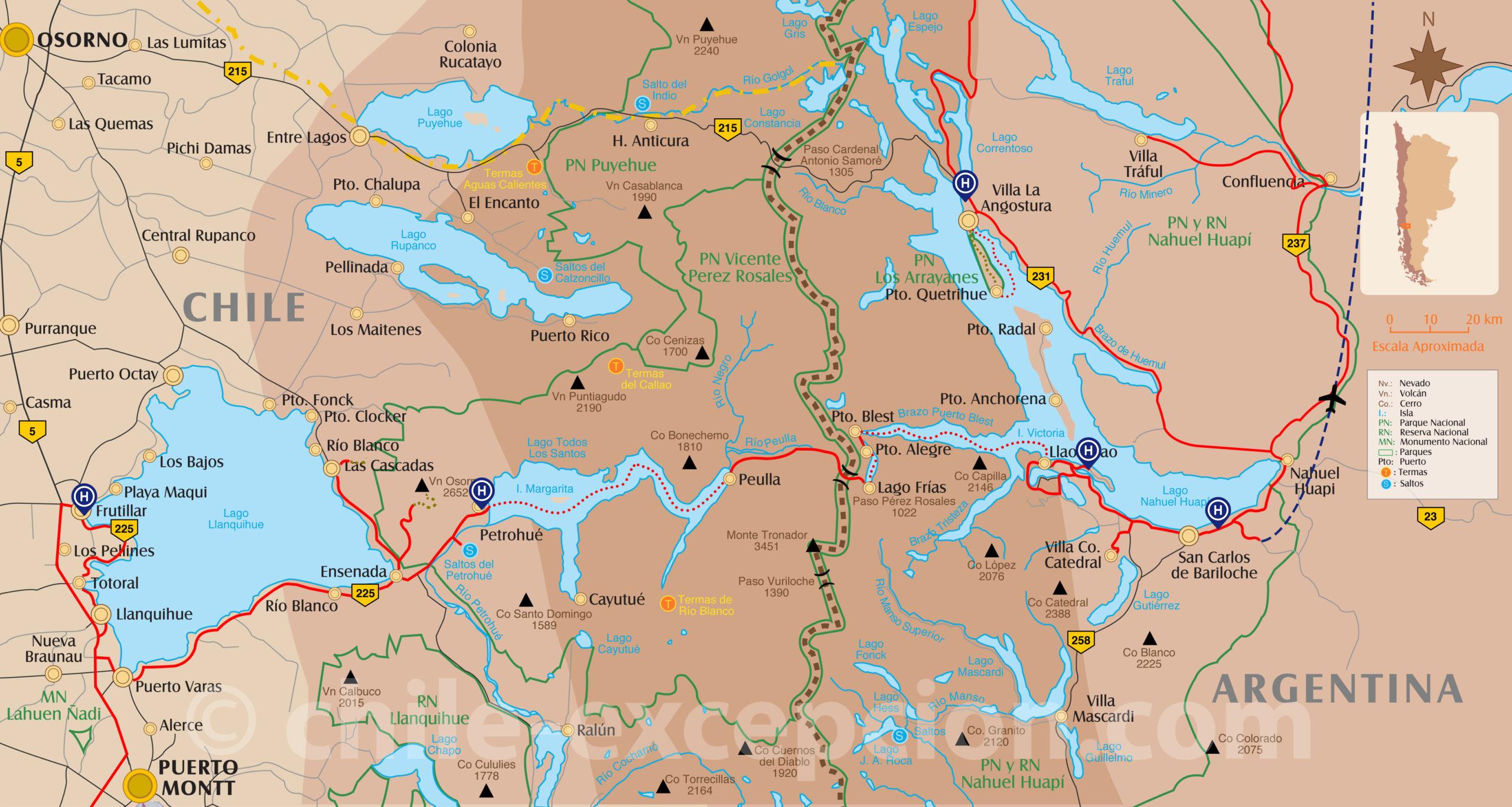 Carte traversée des Lacs Chili Argentine