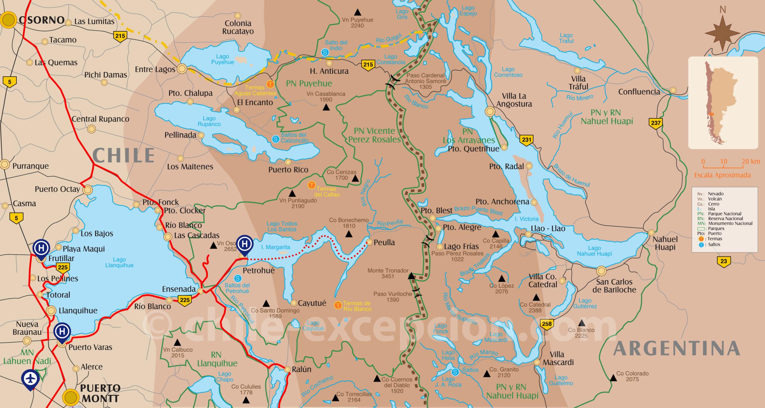Carte zoomée partie Lac Llanquihue circuit 9