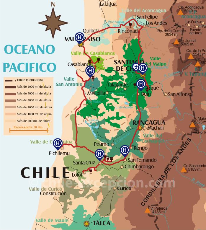 Cartes de la route des vins au Chili