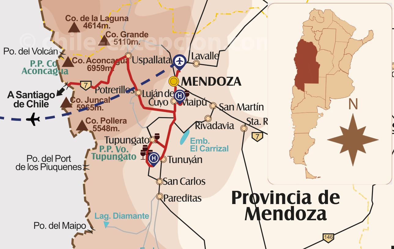 Circuit route des Vins Chili Argentine, zoom Mendoza