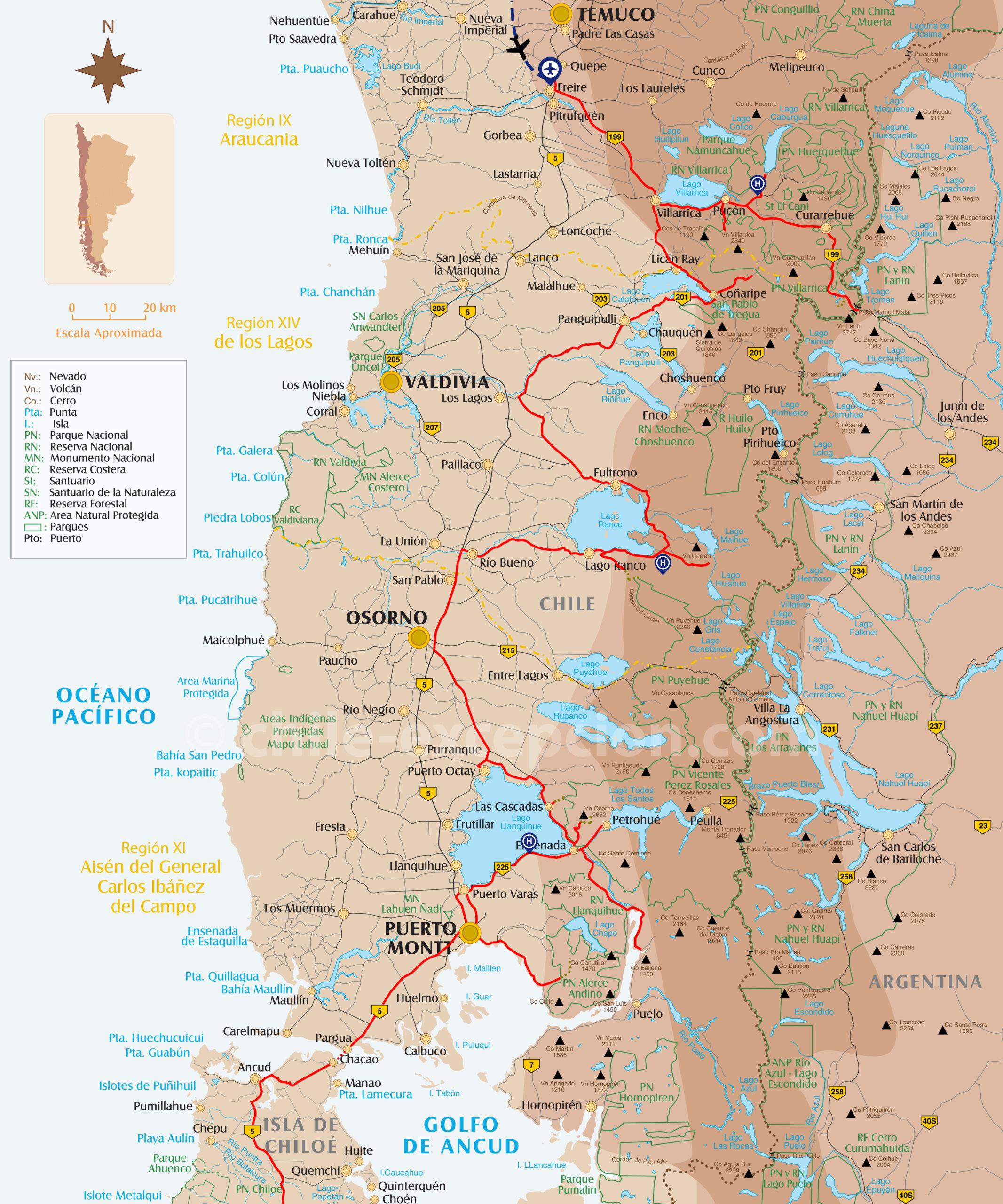 Itinéraire Région Lacs Volcans