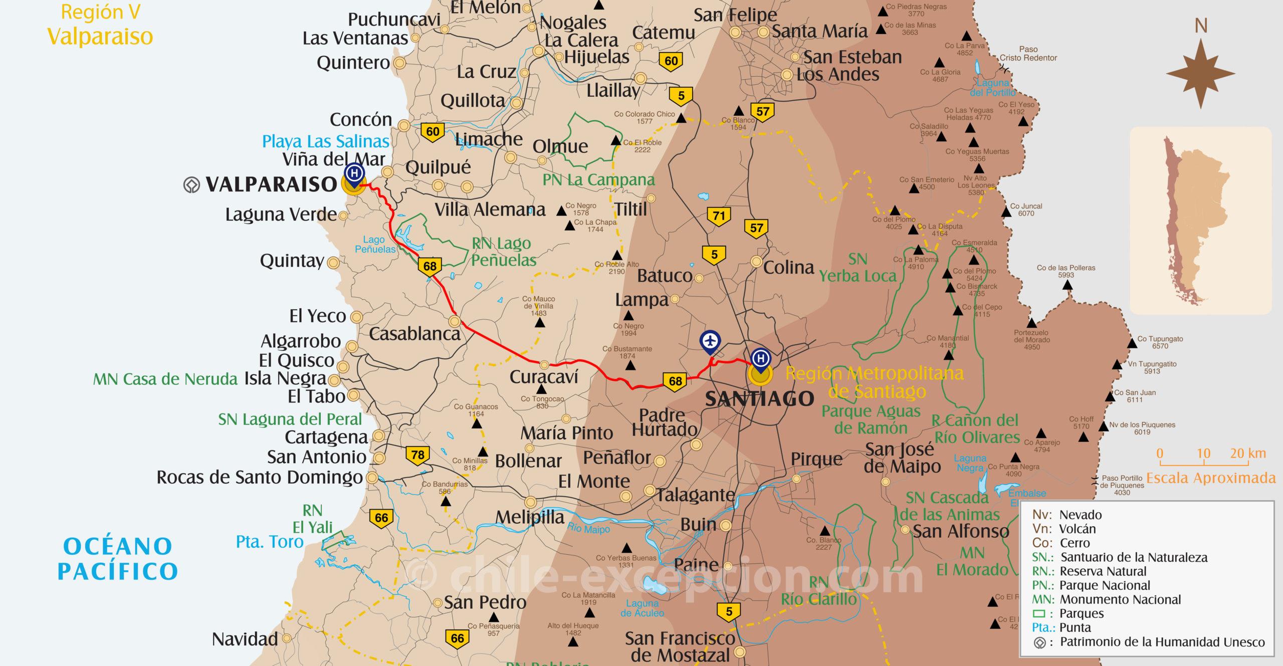 Itinéraire aéroport Santiago à Valparaiso circuit 7