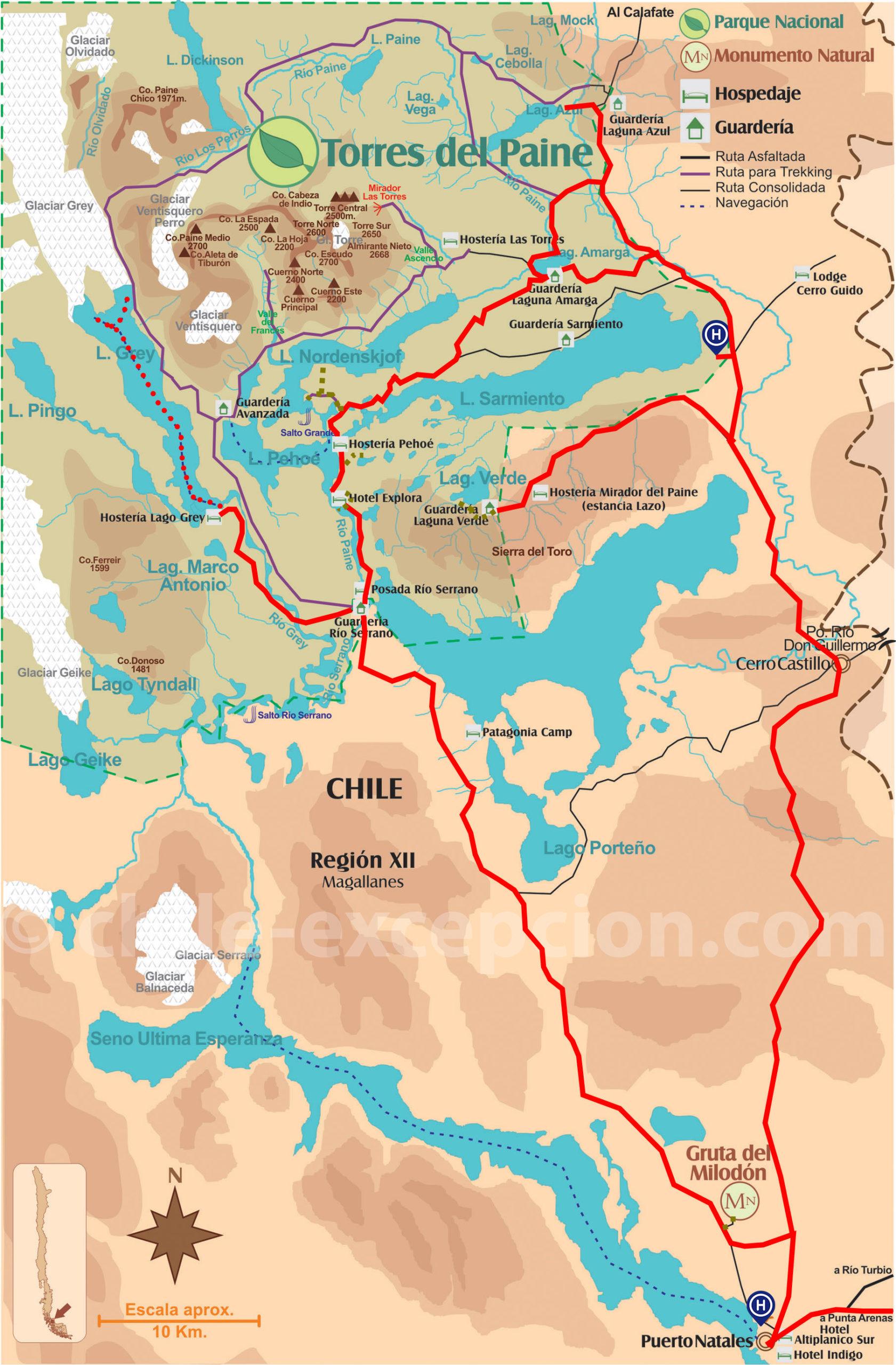 Itinéraire zoomé parc Torres del Paine circuit 8