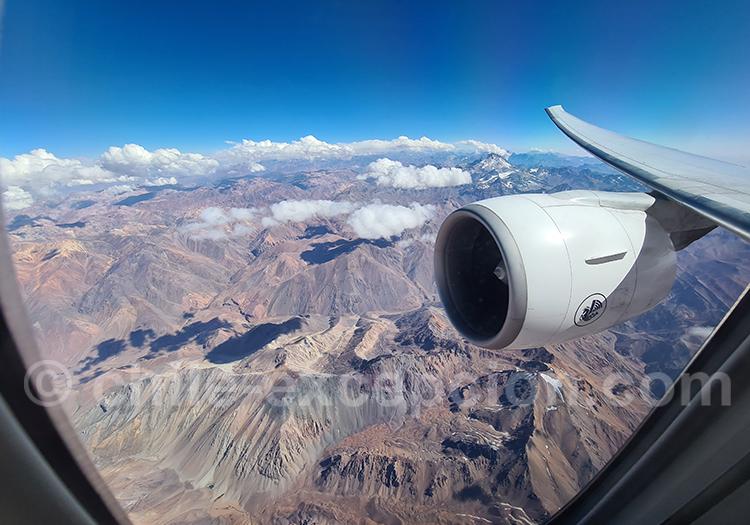 Survol des Andes et de l'Aconcagua