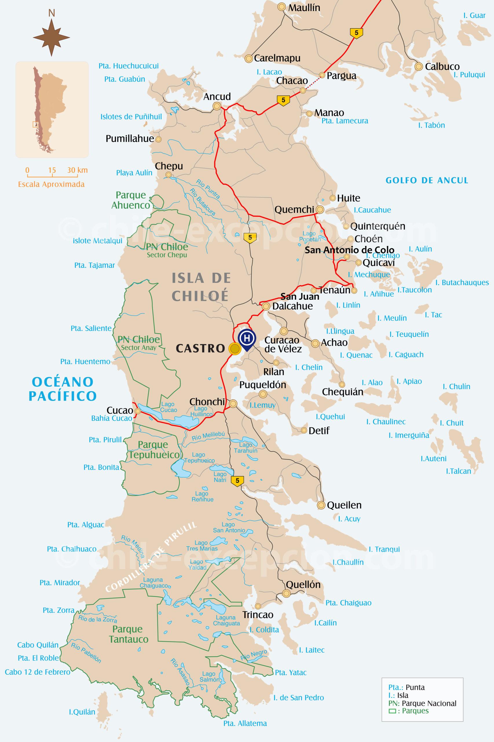 Parcours Chiloé circuit 9 chauffeur-guide privé