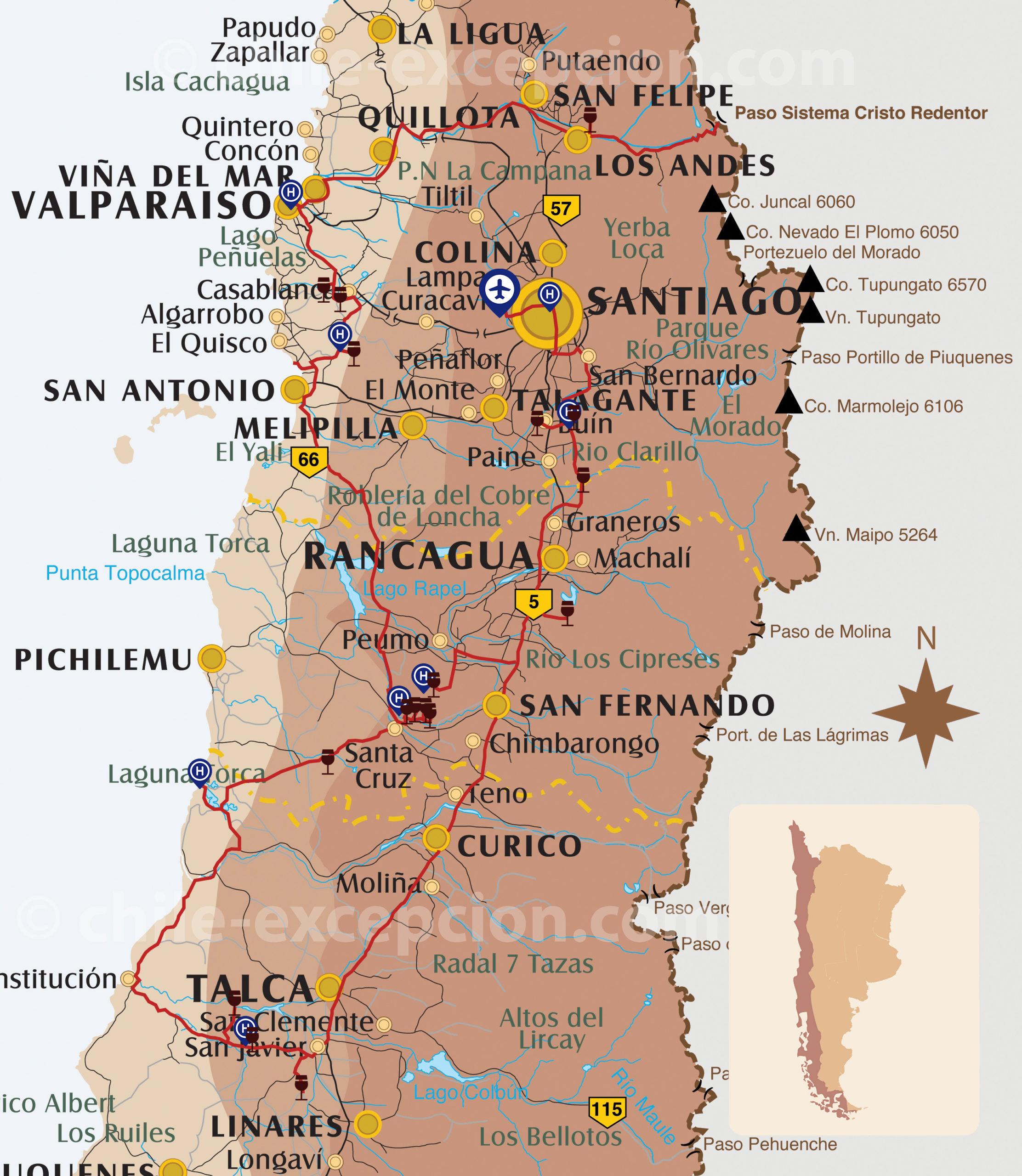 Parcours Vins Chili & Argentine, partie Chili