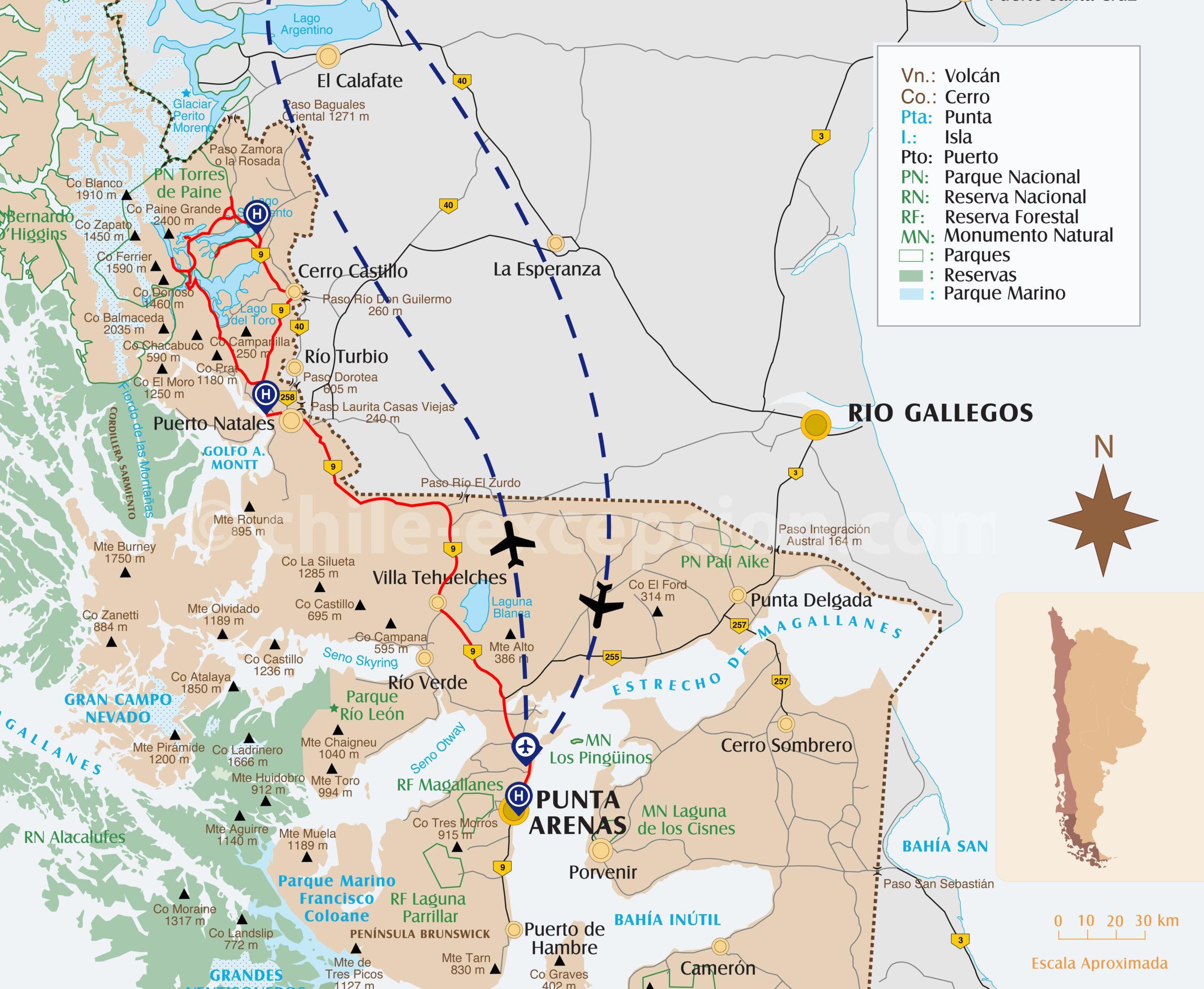 Tracé du circuit 8 en Patagonie