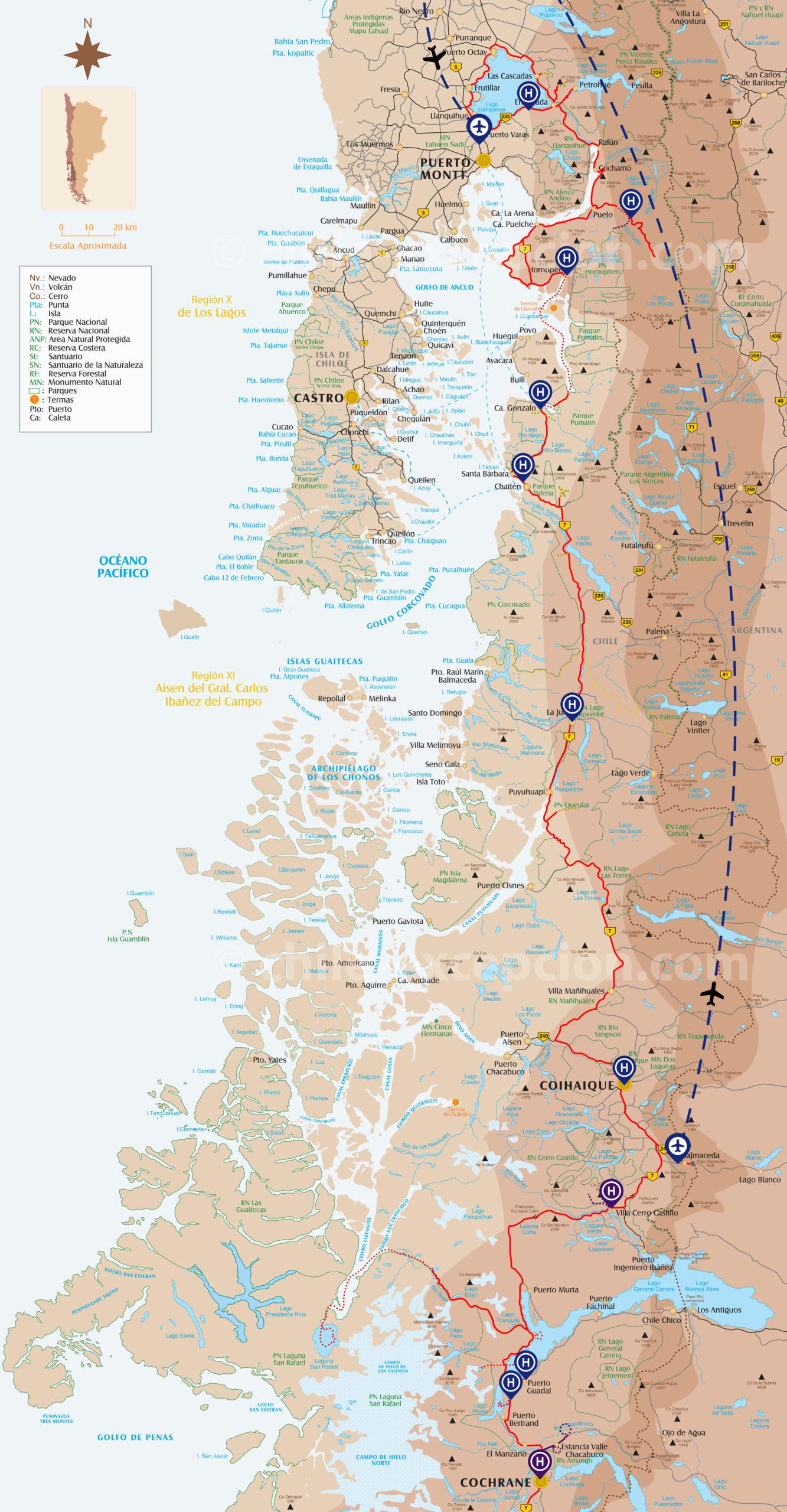 Zoom circuit Autotour Carretera Australe intégrale 20