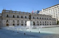 Statue de Arturo Alessandri Palma devant l'actuel Palais de la Moneda, Santiago du Chili. ©Cristian
