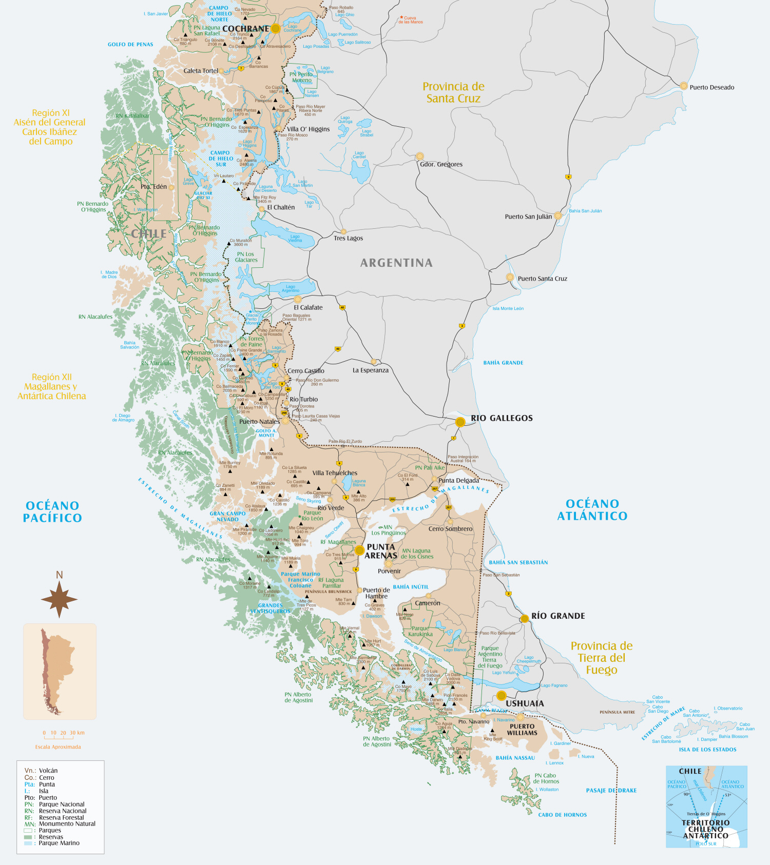 Carte Amerique Sud Patagonie.Carte Patagonie Australe Du Chili Map Southern Patagonia