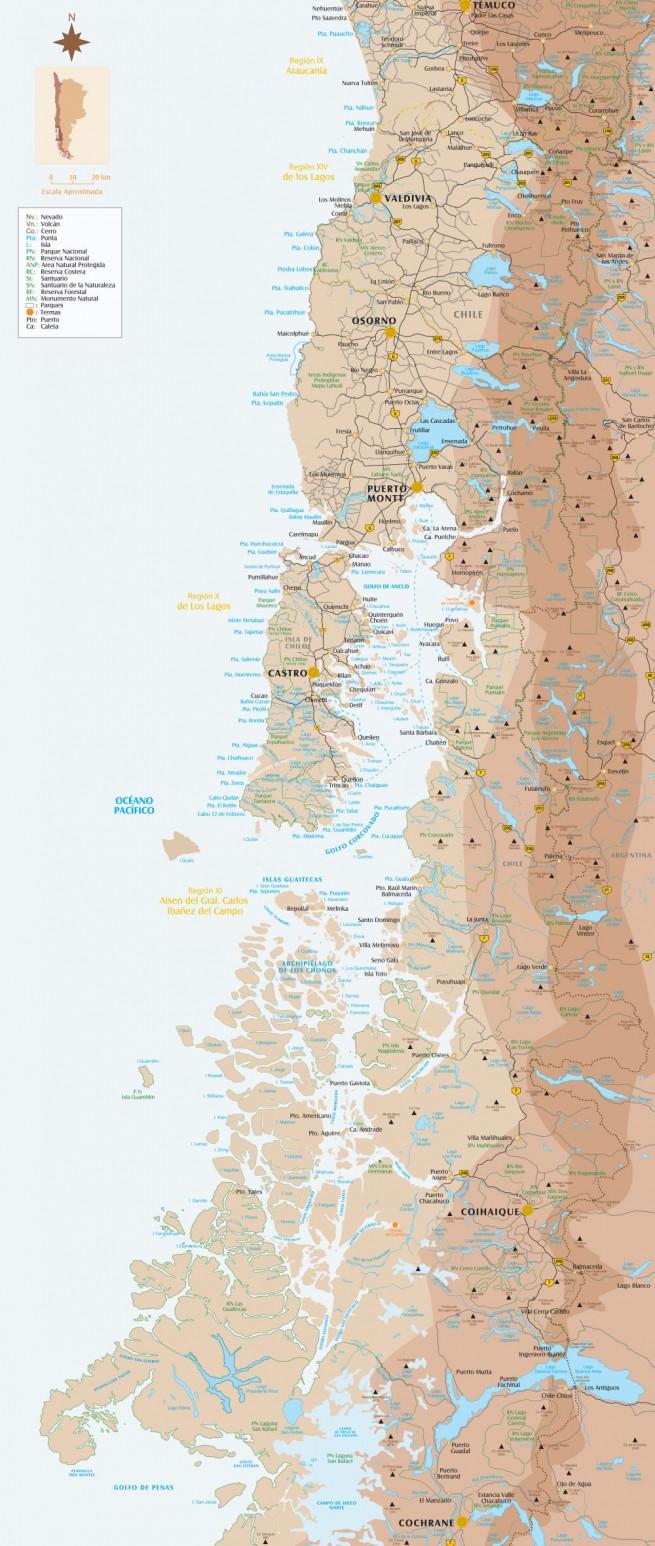 Carte Patagonie Nord : de Temuco à Cochrane