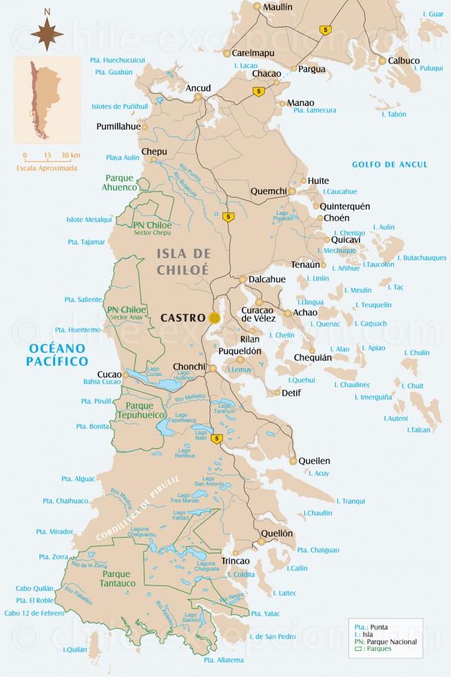 Carte île de Chiloé, Chili
