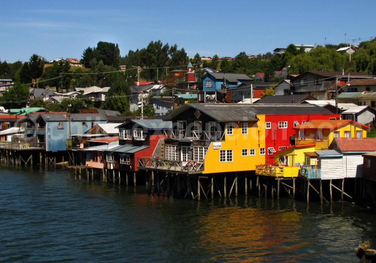 Maisons sur pilotis à Castro, Grande Île de Chiloé
