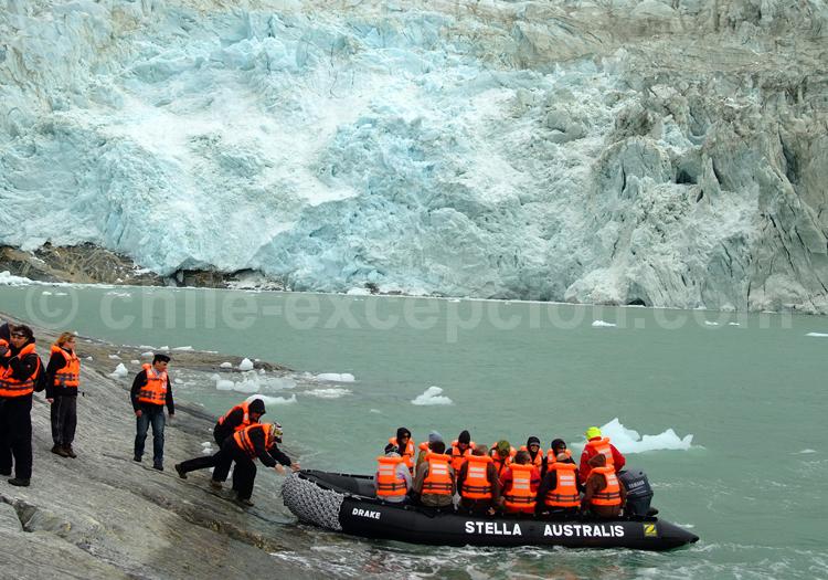 Croisière Australis, excursion près du glacier Pía