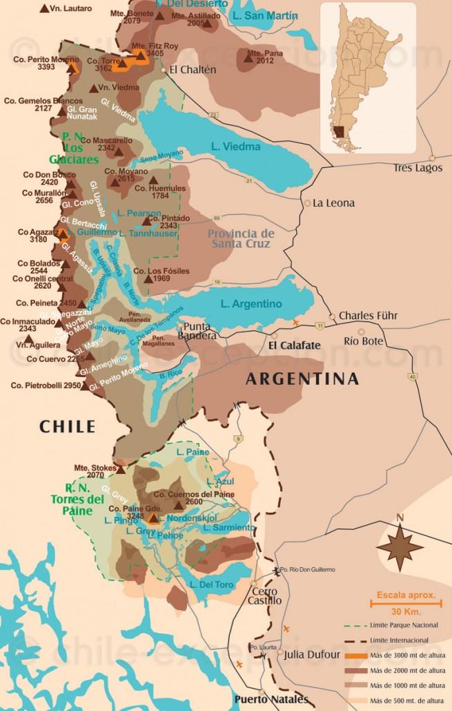 Carte Torres del Paine et El Calafate