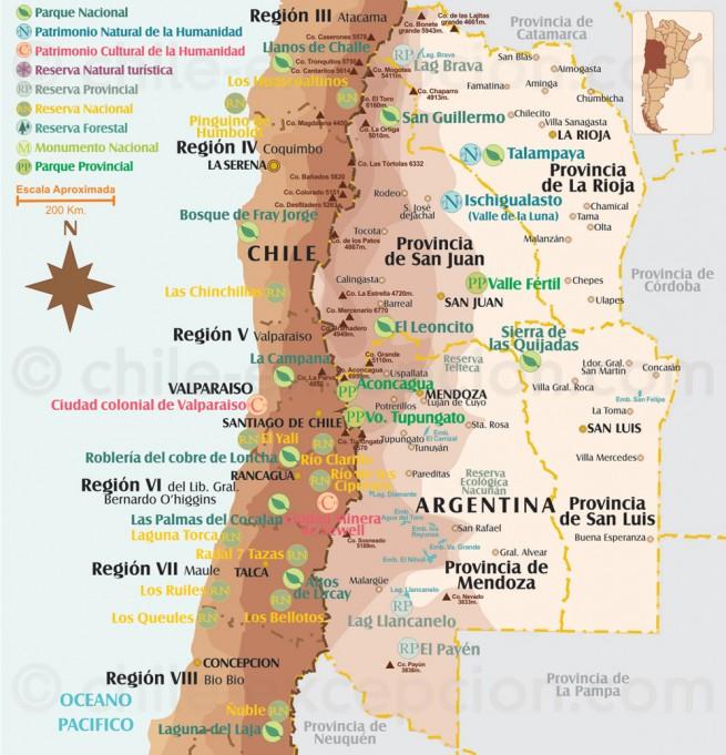 Carte des parcs du Centre du Chili
