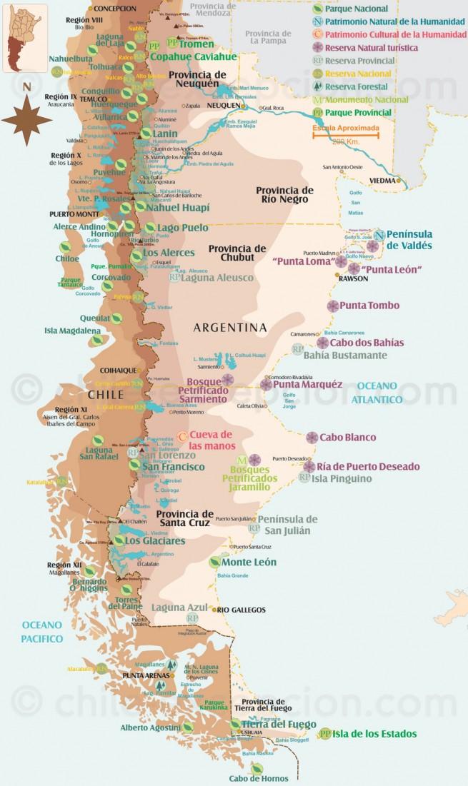 Carte des parcs, Patagonie Chili et Argentine