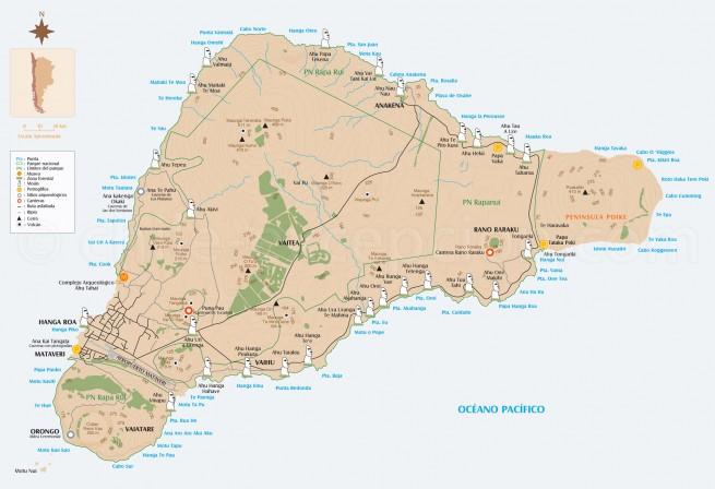 Carte et plan île de Pâques