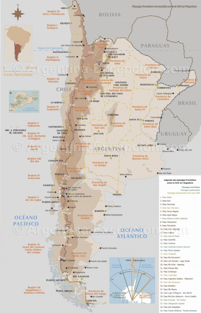 Carte des passages frontaliers entre le Chili et l'Argentine