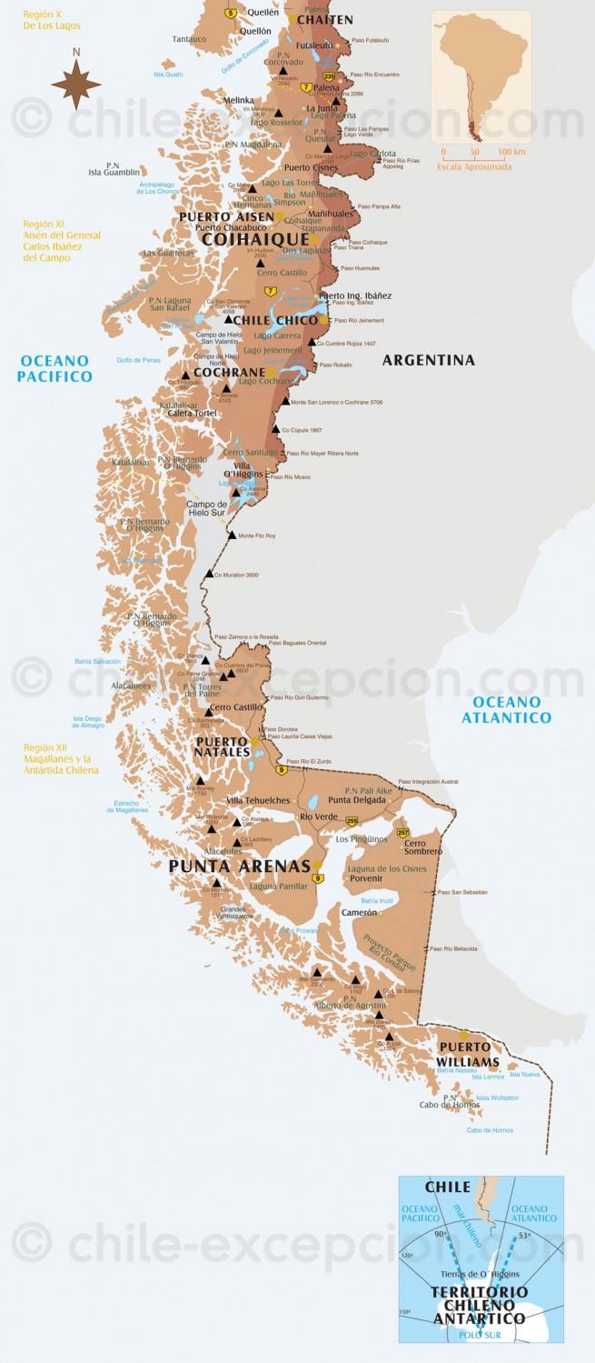 Carte Patagonie et Terre de Feu
