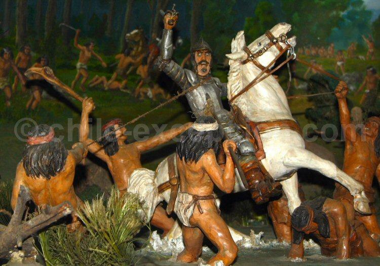 Don Pedro de Valdivia assiégé. Galerie de l'Histoire et Conception