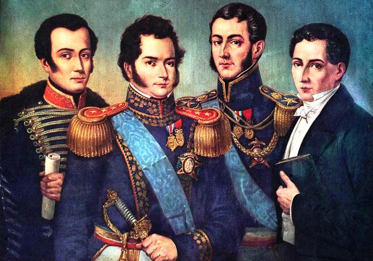 Pères fondateurs de la République chilienne. Carrera, O'Higgins, San Martín et Portales