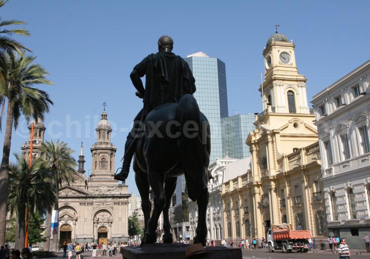 Don Pedro de Valdivia, plaza de Armas, Santiago