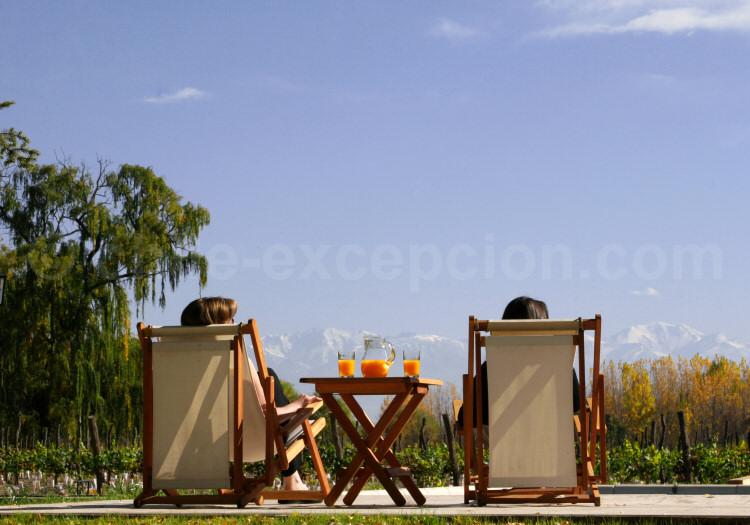 Relaxation face aux Andes, vallée de Uco