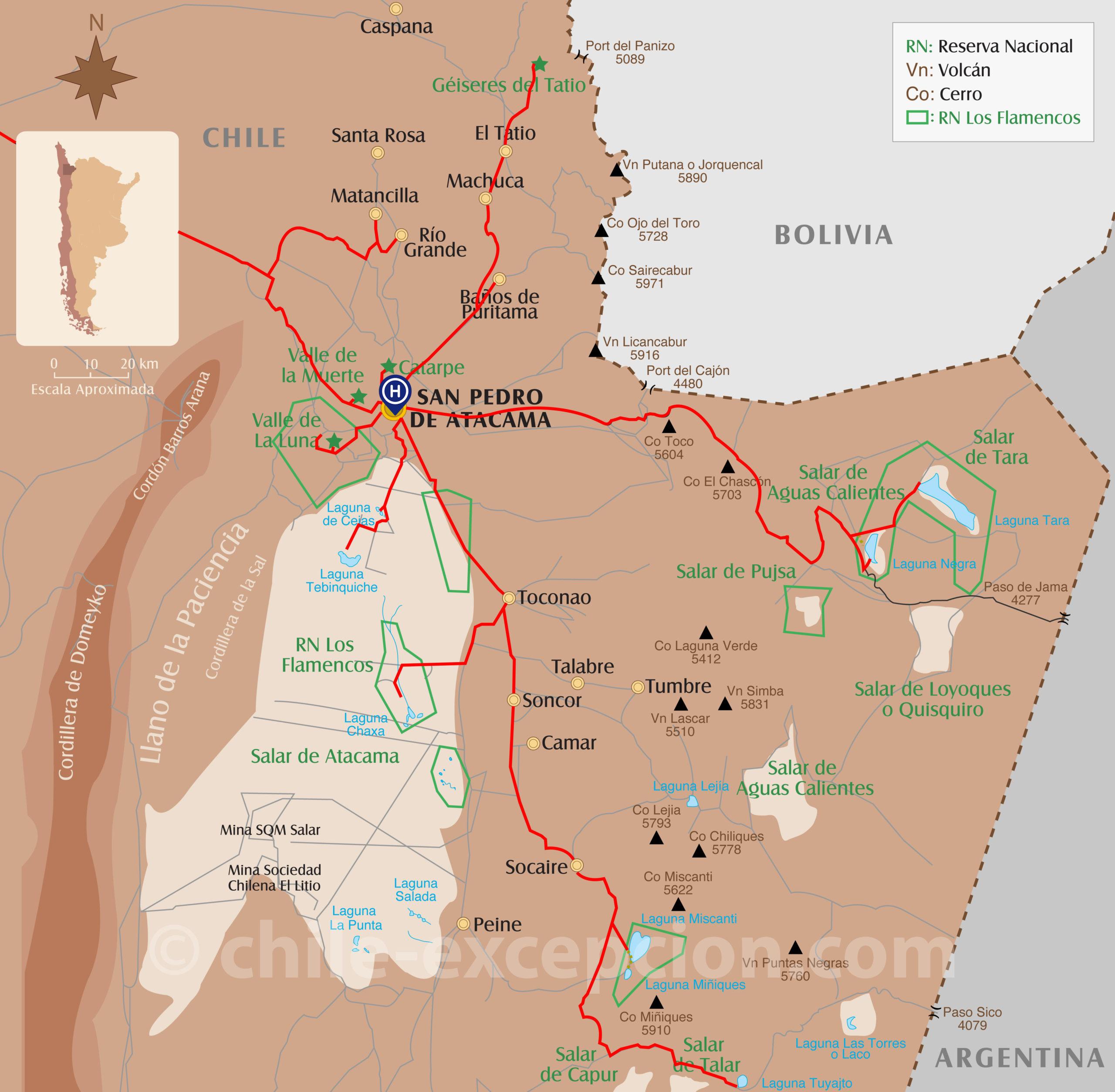 Itinéraire des excursions à San Pedro de Atacama