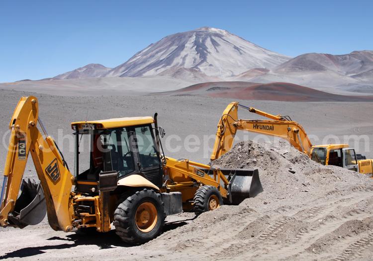 Travaux dans le désert semi-aride du Chili