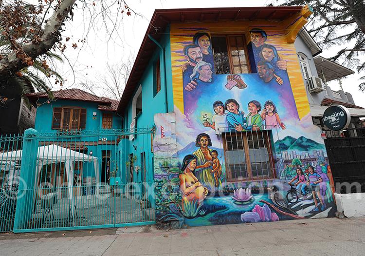 Art urbain au barrio Bellavista, Santiago