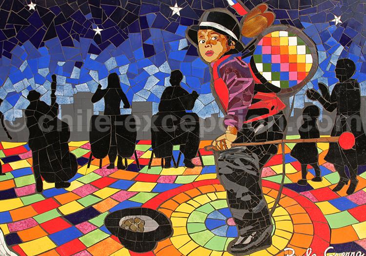 Mosaïque murale réalisée par Paula Guerra, artiste chilienne