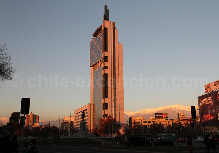 Coucher de soleil au Parc Forestal, Santiago de Chile