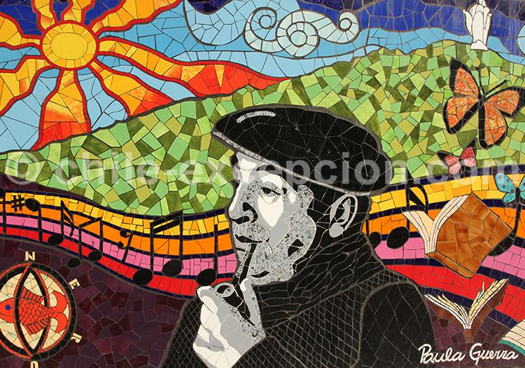 Mosaïque murale de Pablo Neruda, par Paula Guerra