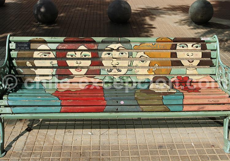 Peinture sur banc, Santiago du Chili